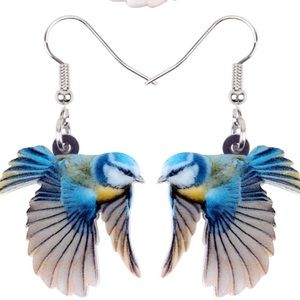 Flying Blue Tit Bird Acrylic Earrings